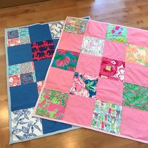 Other - New Pink Lilly Pulitzer Fabric Baby Blanket Quilt